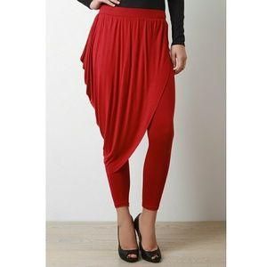 Pants - Red Skirt Drape Leggings